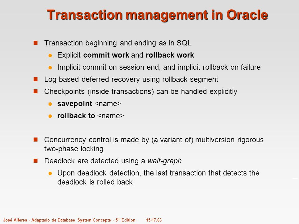 Transaction management in Oracle