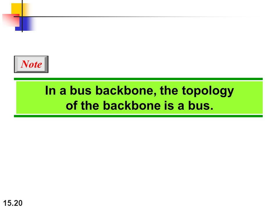 In a bus backbone, the topology of the backbone is a bus.