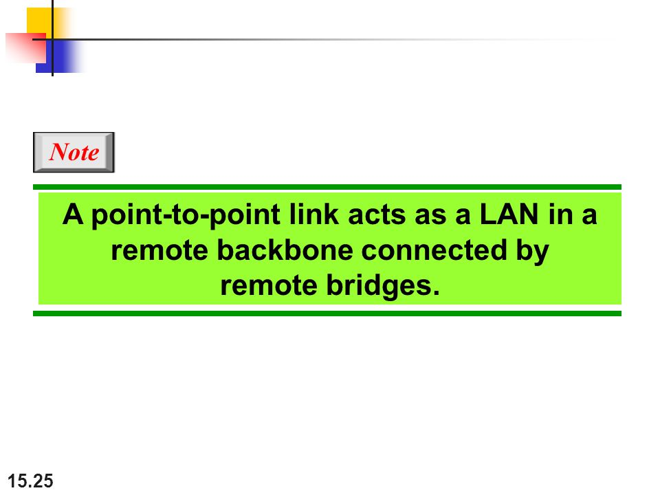 Note A point-to-point link acts as a LAN in a remote backbone connected by remote bridges.