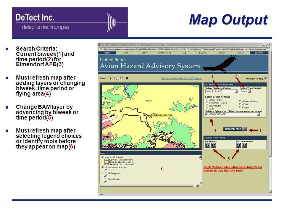 Map Output Search Criteria: Current biweek(1) and time period(2) for Elmendorf AFB(3)