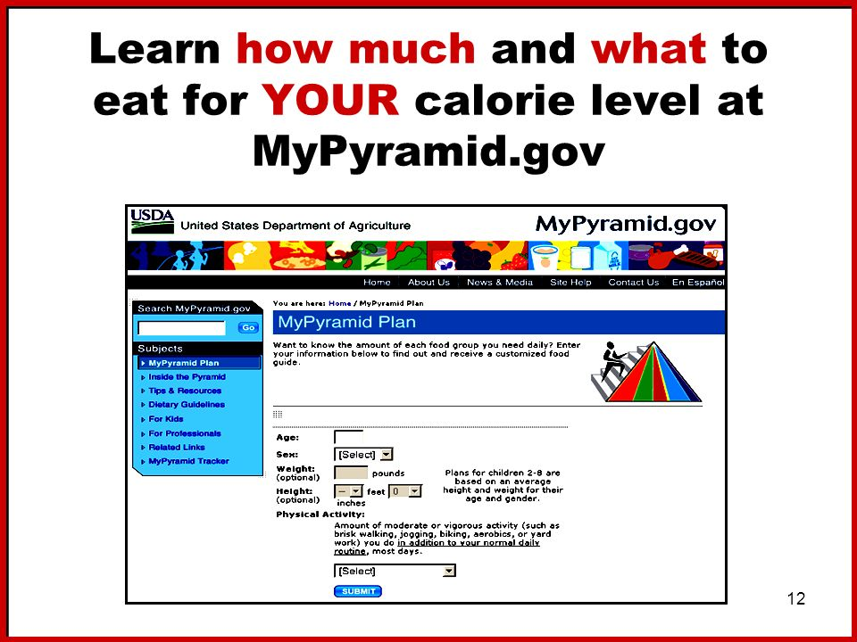 Learn how much and what to eat for YOUR calorie level at MyPyramid.gov
