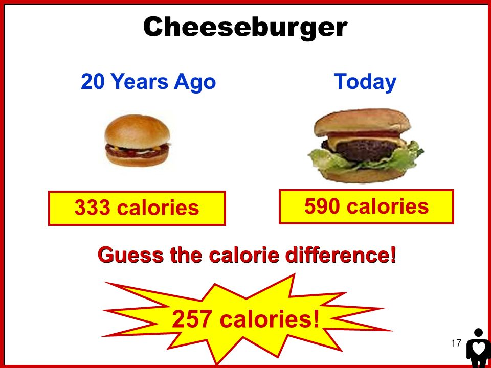 Cheeseburger 257 calories! 20 Years Ago Today 333 calories
