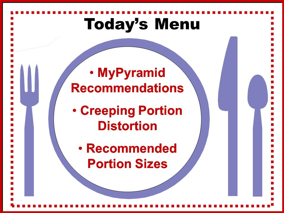 Today's Menu MyPyramid Recommendations Creeping Portion Distortion