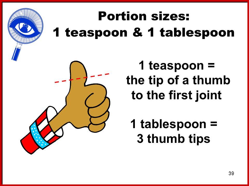 Portion sizes: 1 teaspoon & 1 tablespoon