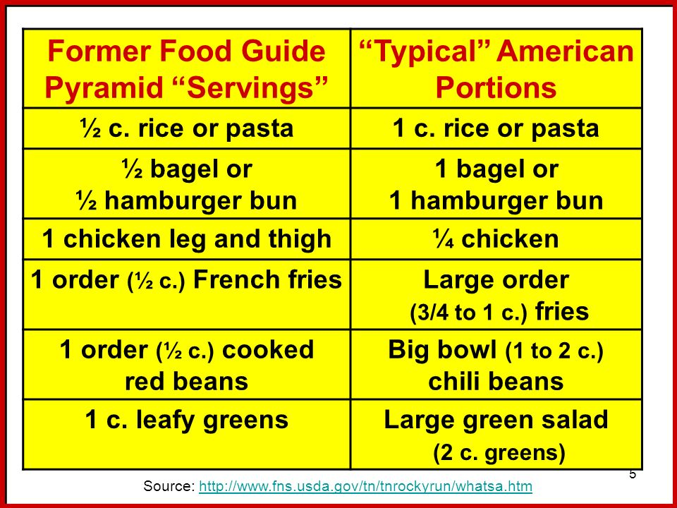 Former Food Guide Pyramid Servings Typical American Portions