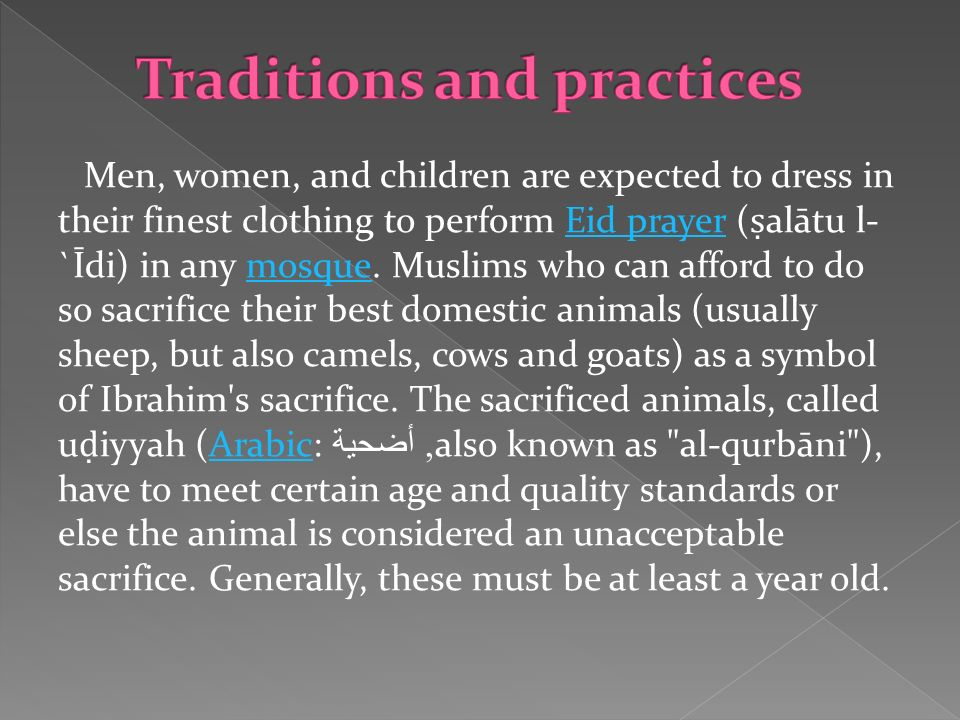 Traditions and practices