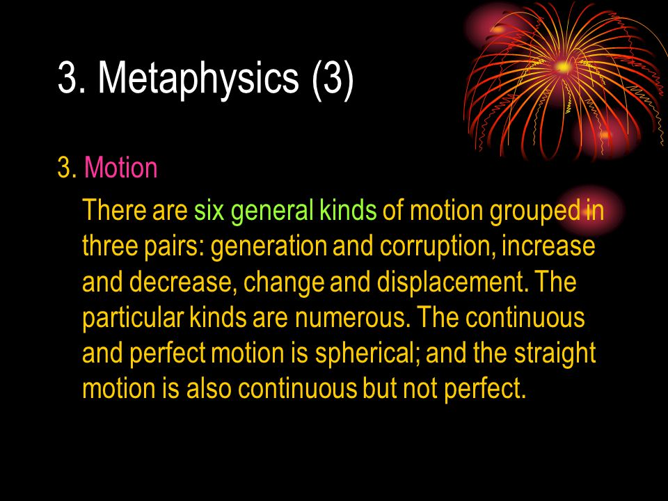 3. Metaphysics (3) 3. Motion.
