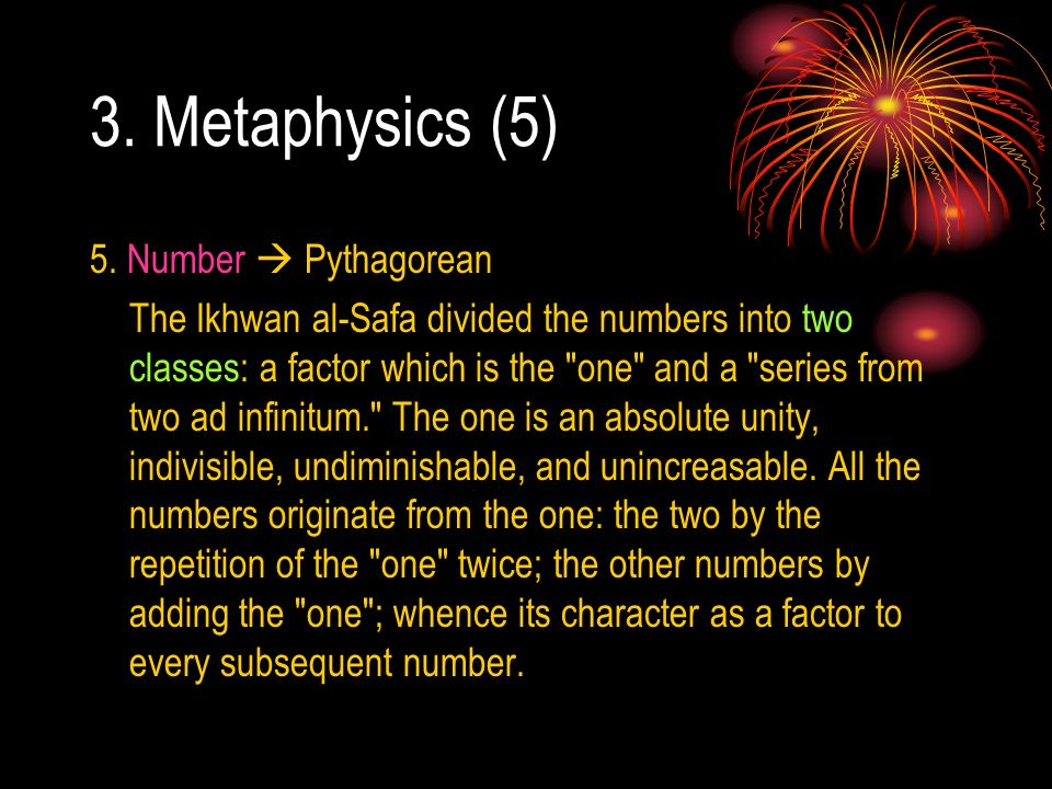 3. Metaphysics (5) 5. Number  Pythagorean