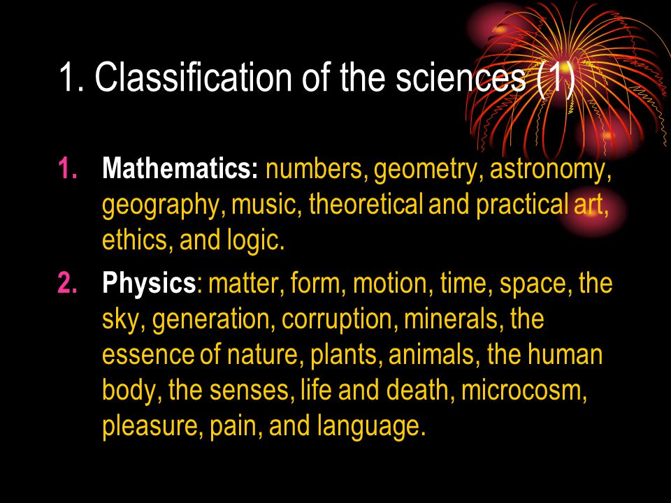 1. Classification of the sciences (1)