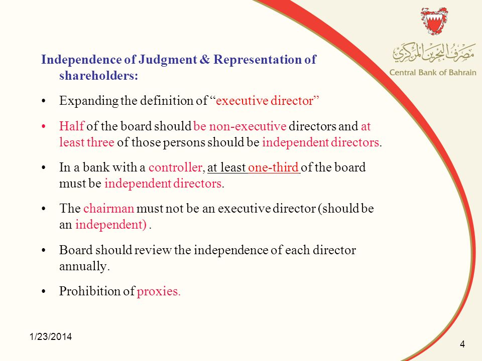 Independence of Judgment & Representation of shareholders: