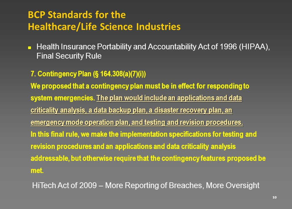 BCP Standards for the Healthcare/Life Science Industries