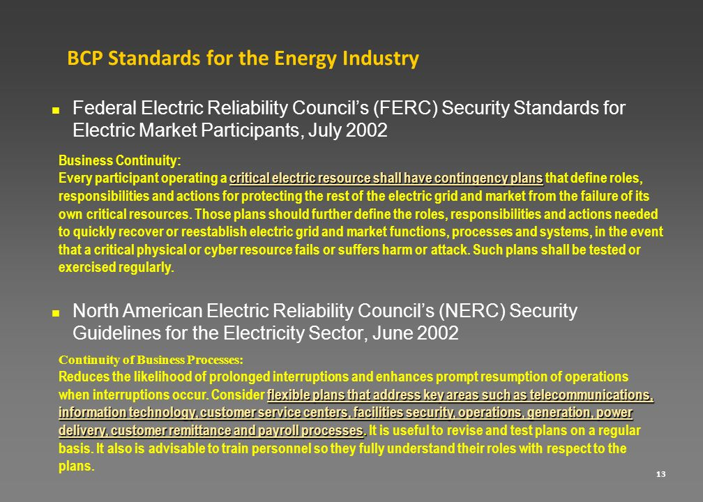 BCP Standards for the Energy Industry