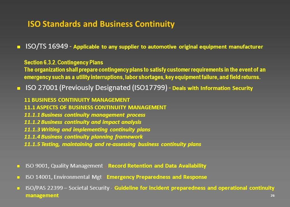 ISO Standards and Business Continuity