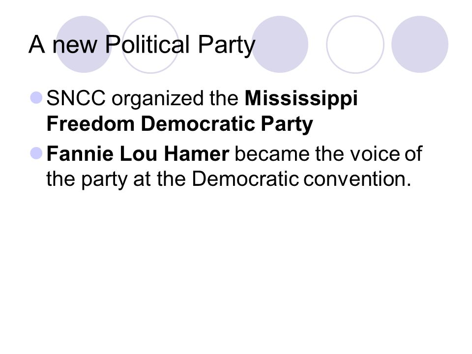 A new Political Party SNCC organized the Mississippi Freedom Democratic Party.