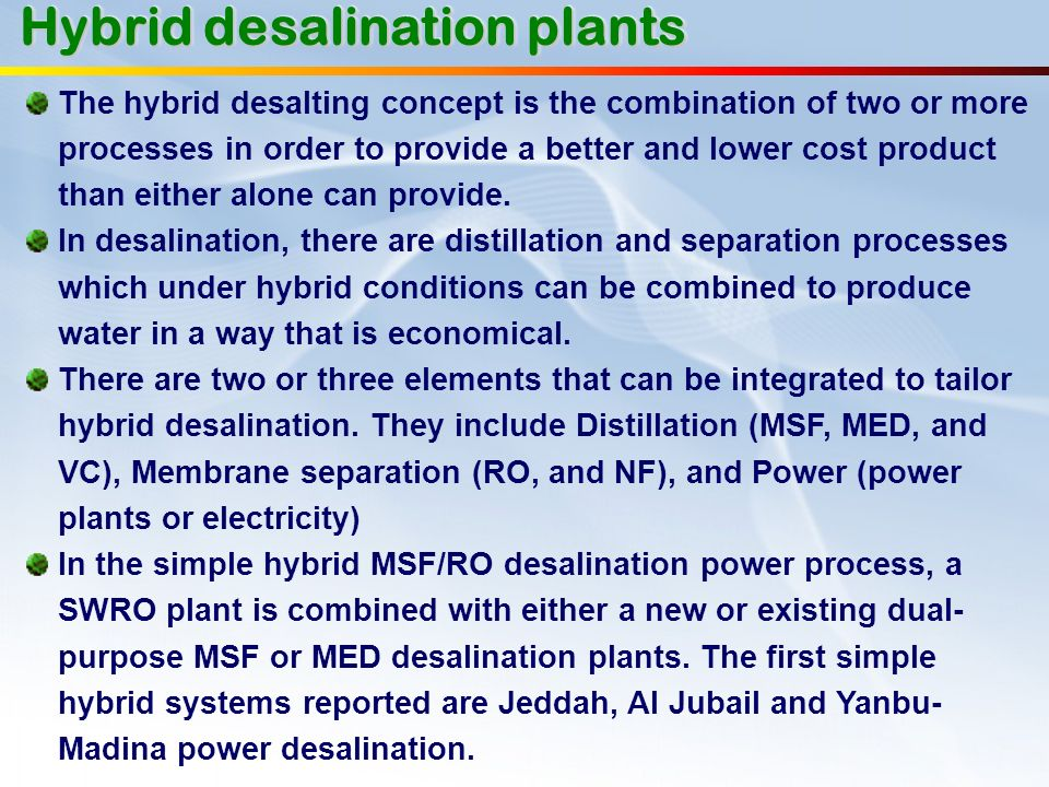 Hybrid desalination plants