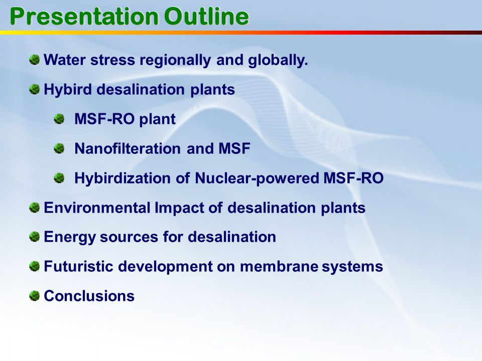 Presentation Outline Water stress regionally and globally.
