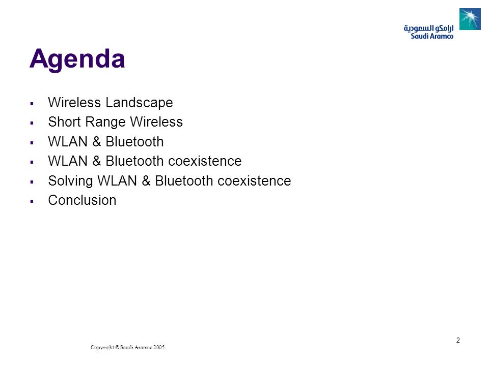 Agenda Wireless Landscape Short Range Wireless WLAN & Bluetooth