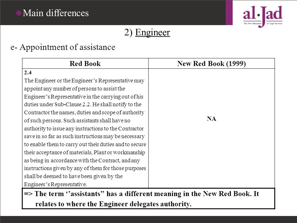 Main differences 2) Engineer e- Appointment of assistance Red Book
