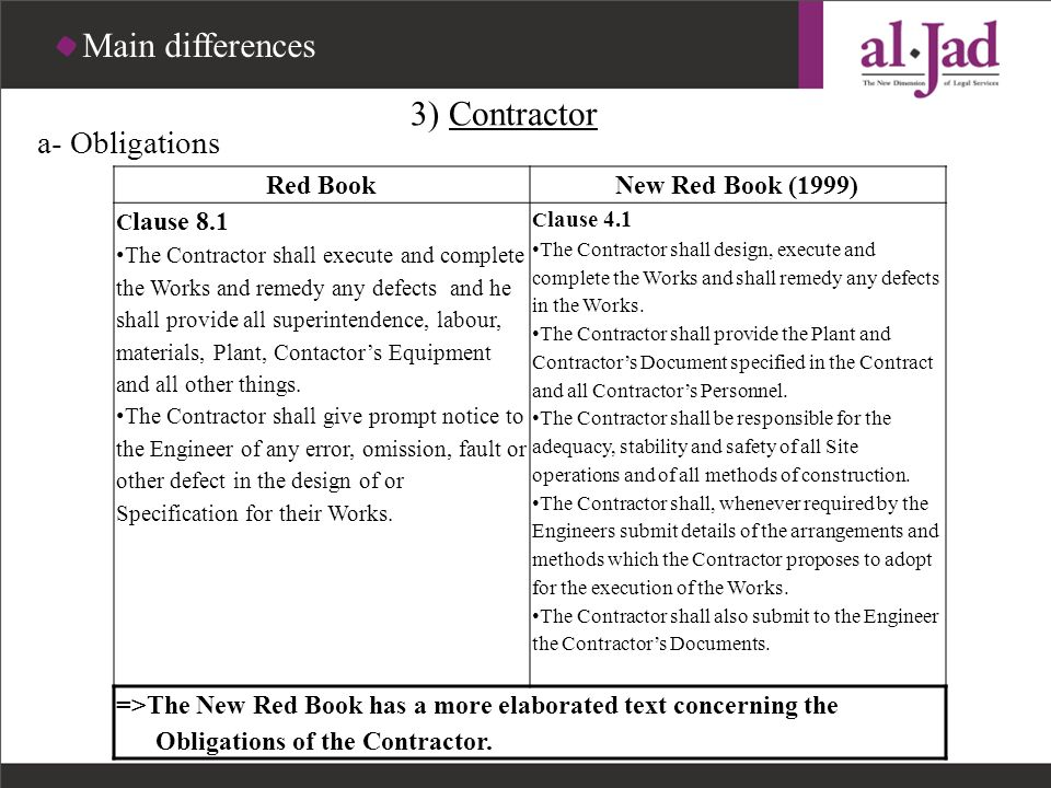 Main differences 3) Contractor a- Obligations Red Book