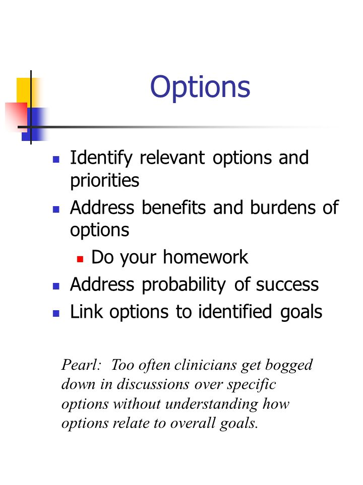 Options Identify relevant options and priorities