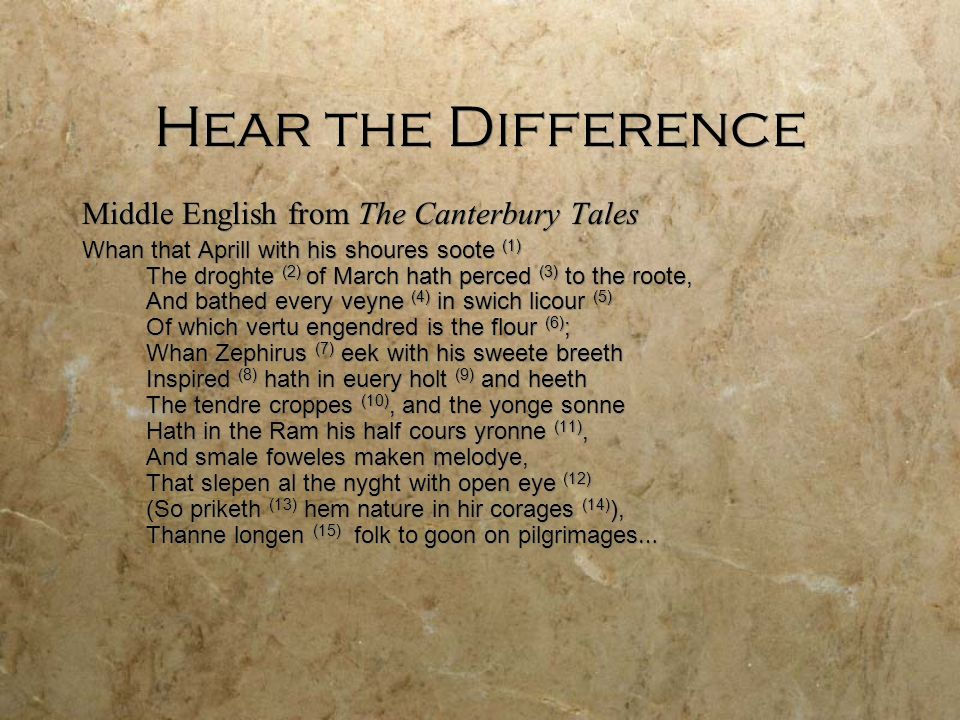 Hear the Difference Middle English from The Canterbury Tales