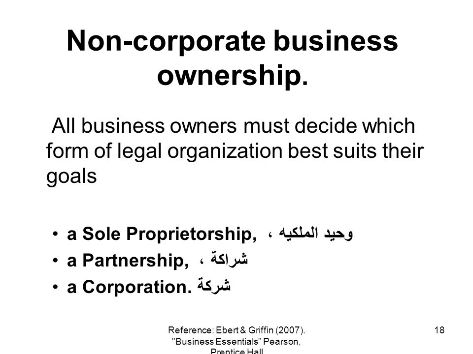 Non-corporate business ownership.