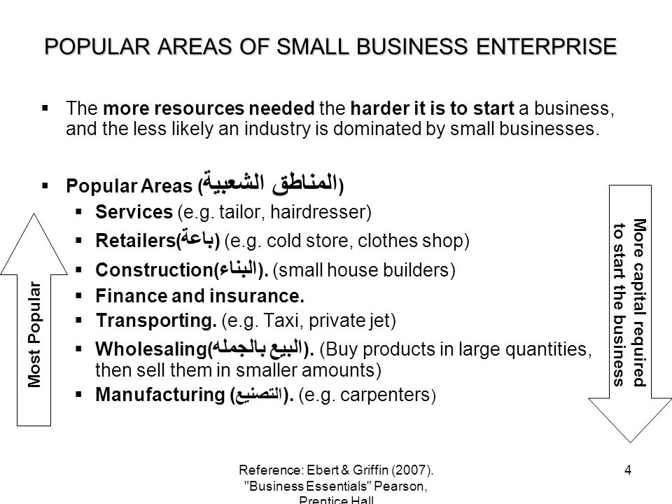 POPULAR AREAS OF SMALL BUSINESS ENTERPRISE