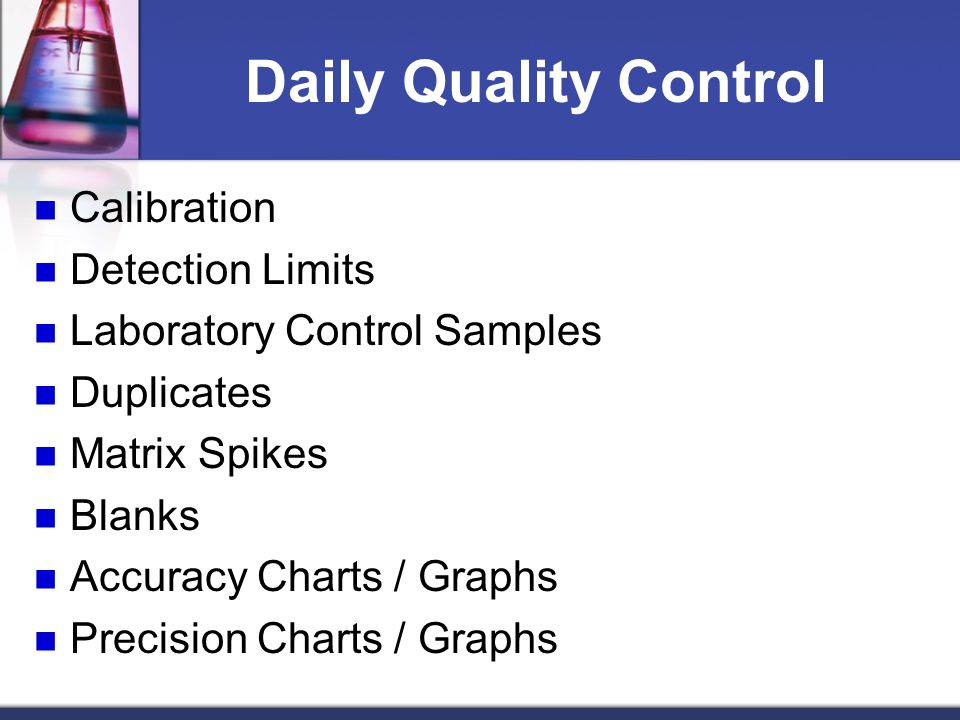 Daily Quality Control Calibration Detection Limits