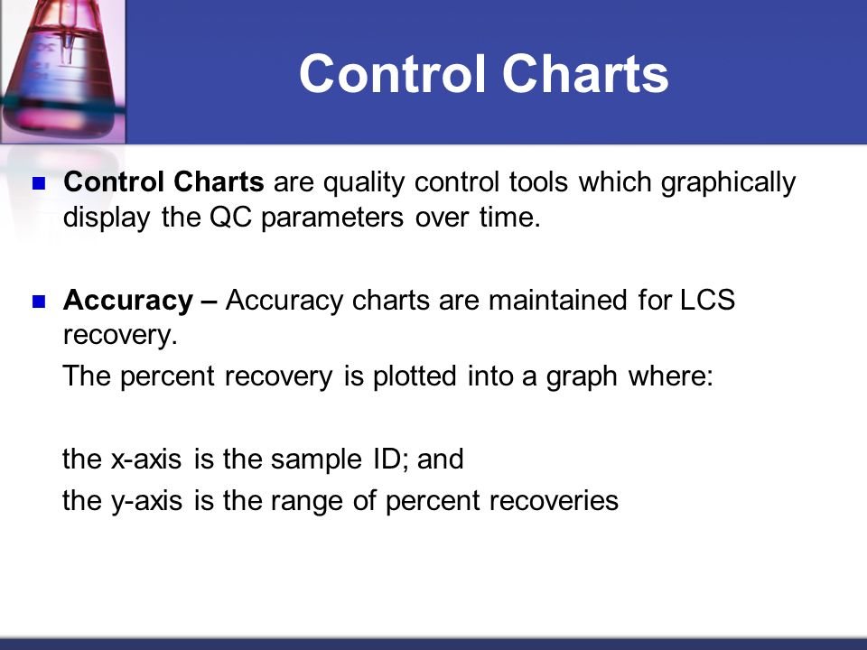 Control Charts Control Charts are quality control tools which graphically display the QC parameters over time.