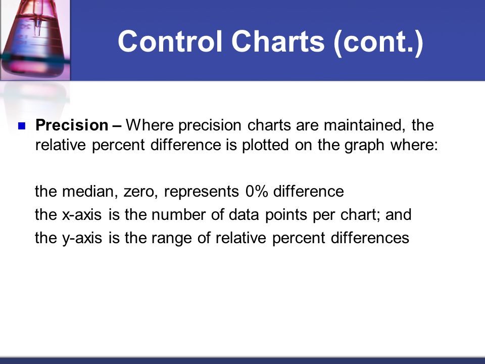 Control Charts (cont.) Precision – Where precision charts are maintained, the relative percent difference is plotted on the graph where:
