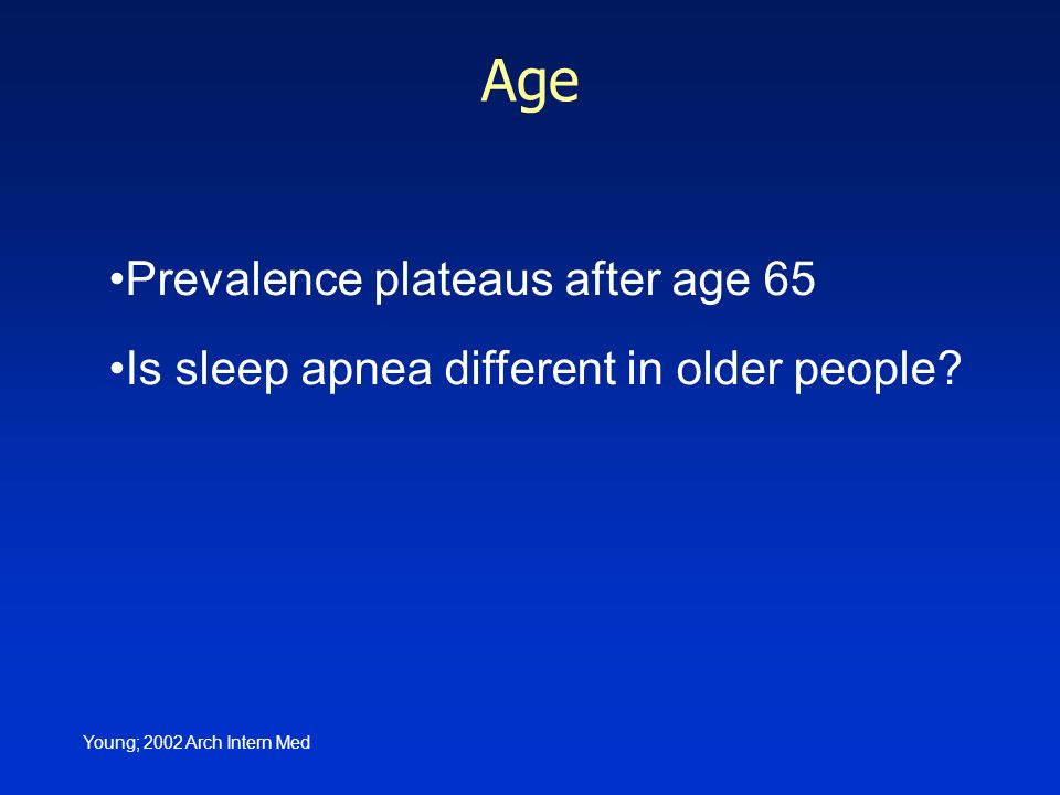Age Prevalence plateaus after age 65