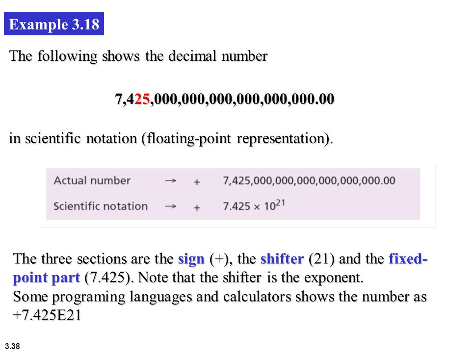 Example 3.18 The following shows the decimal number. 7,425,000,000,000,000,000, in scientific notation (floating-point representation).