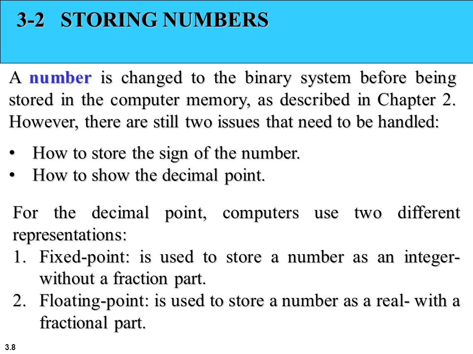 3-2 STORING NUMBERS