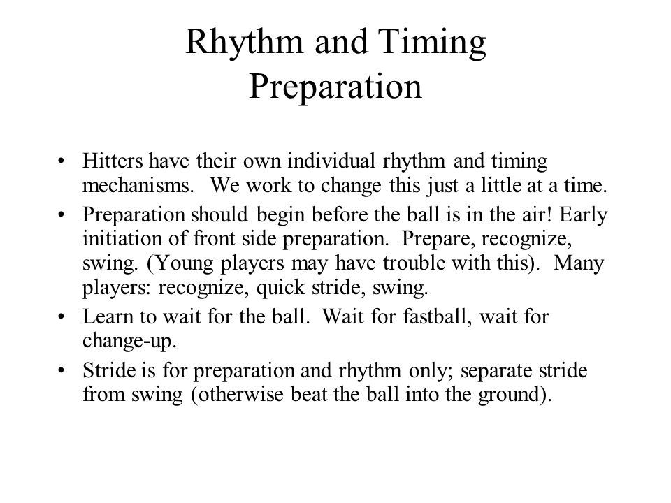Rhythm and Timing Preparation