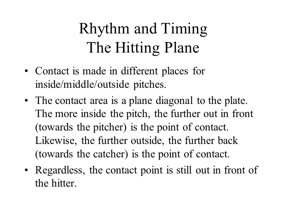 Rhythm and Timing The Hitting Plane