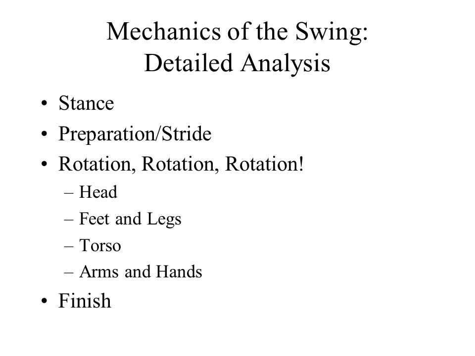 Mechanics of the Swing: Detailed Analysis