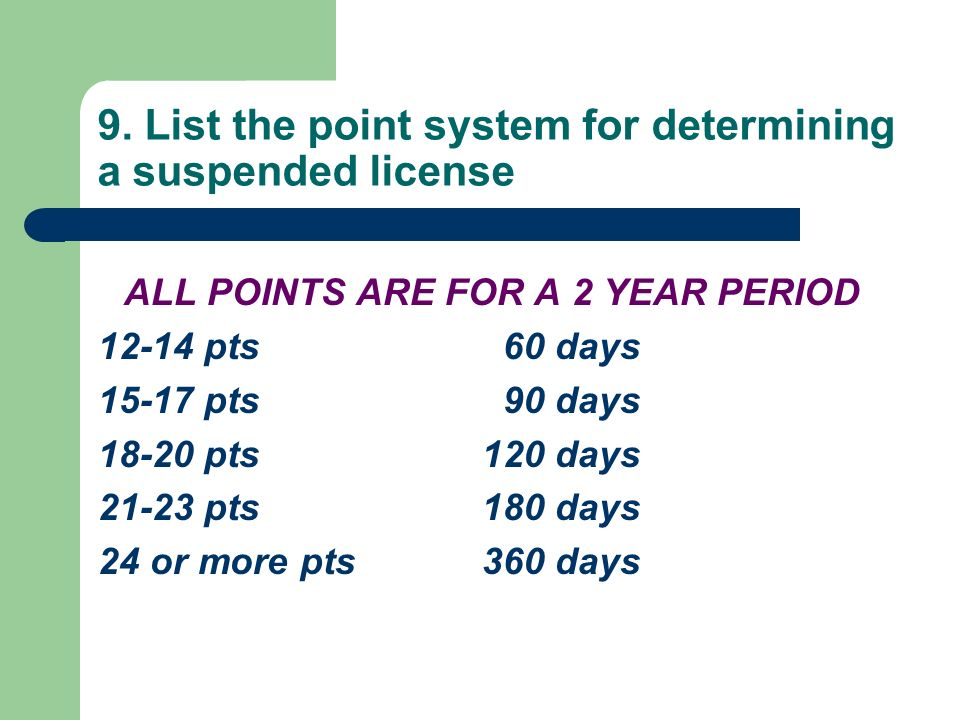 9. List the point system for determining a suspended license