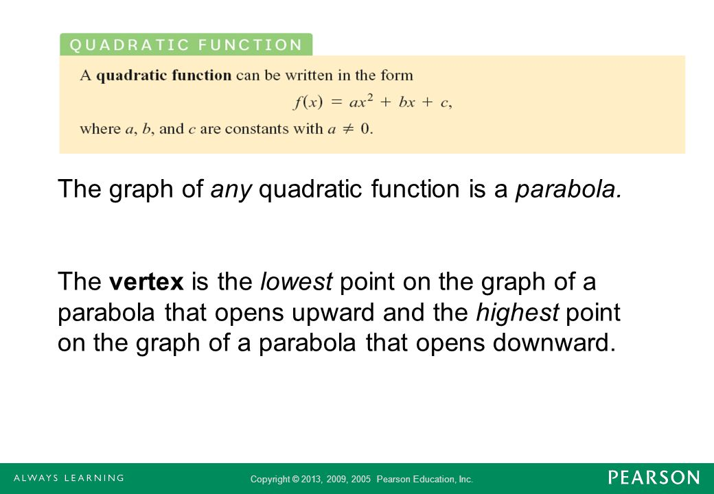 The graph of any quadratic function is a parabola.