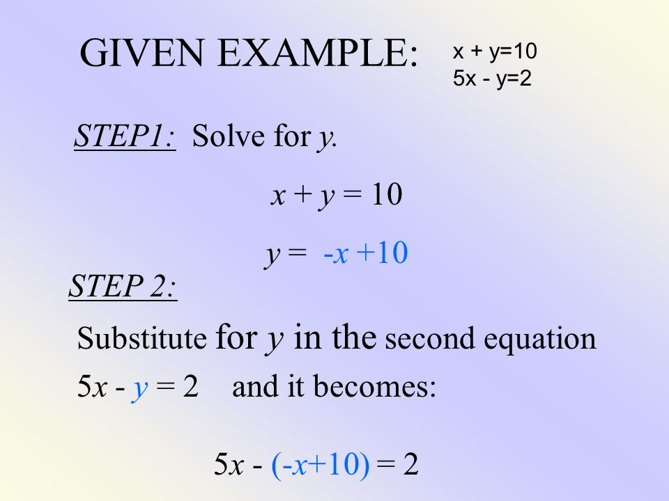 GIVEN EXAMPLE: STEP1: Solve for y. x + y = 10 y = -x +10 STEP 2: