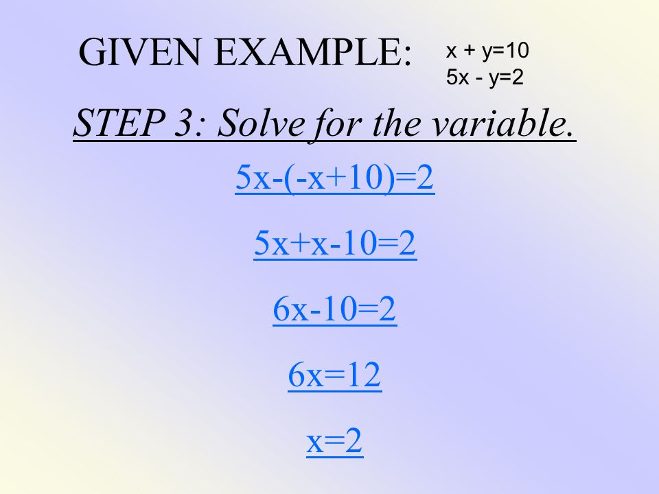 STEP 3: Solve for the variable.