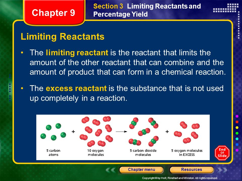 Section 3 Limiting Reactants and Percentage Yield