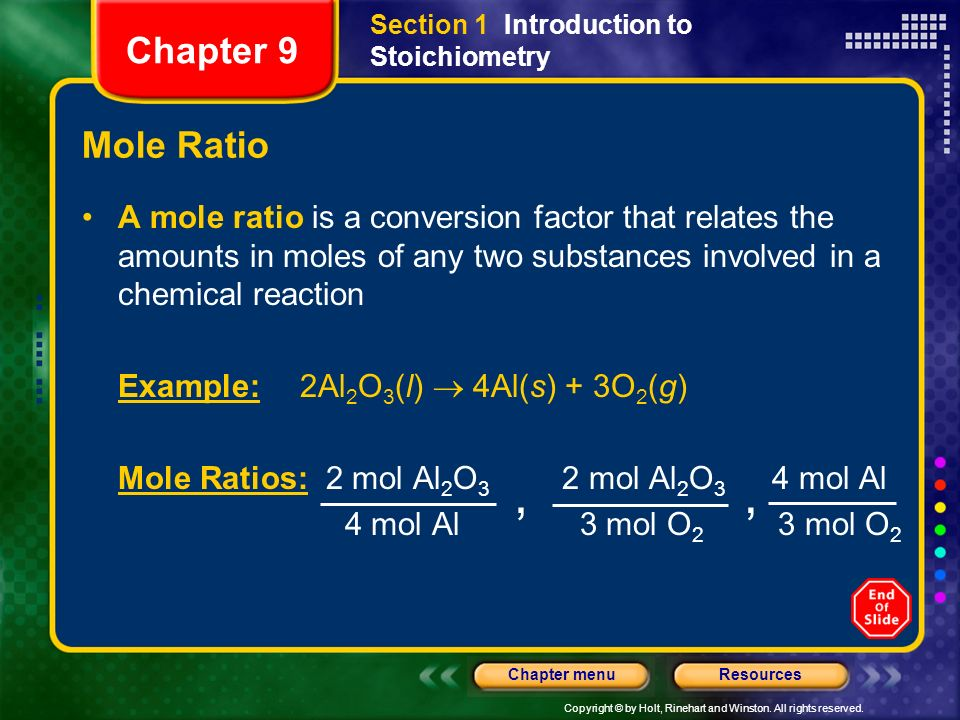 Section 1 Introduction to Stoichiometry