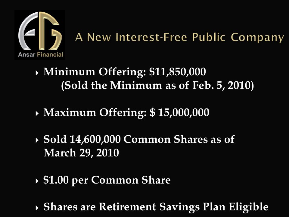 A New Interest-Free Public Company