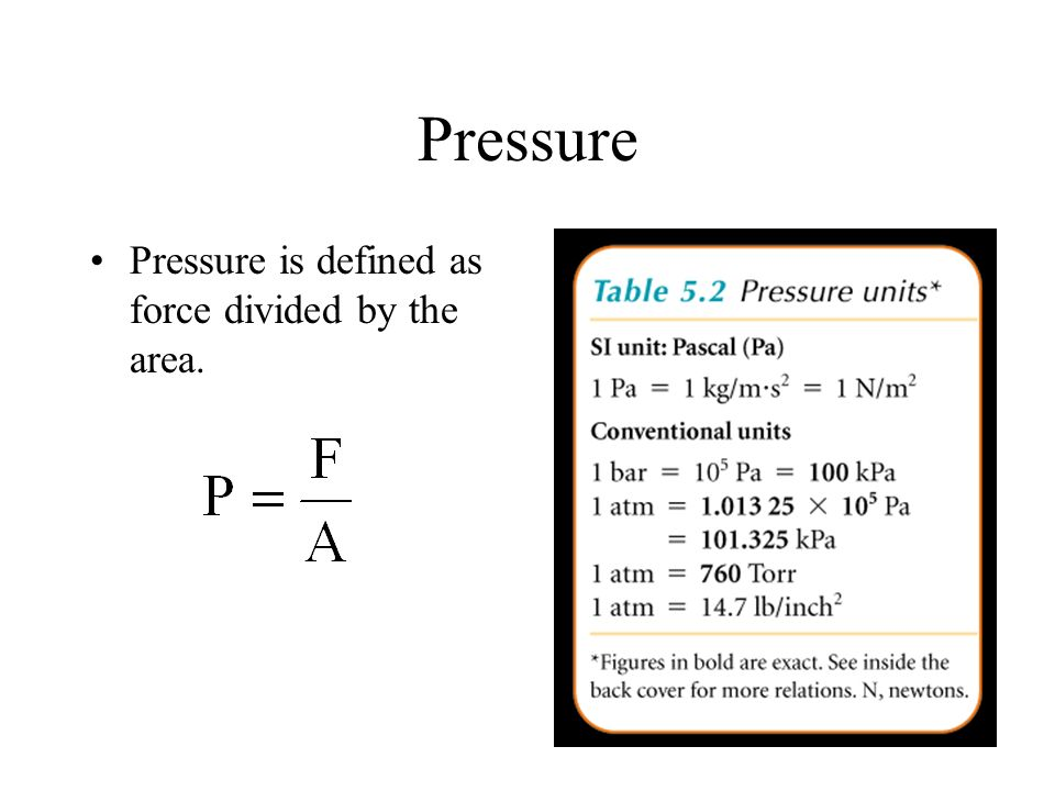 Pressure Pressure is defined as force divided by the area.