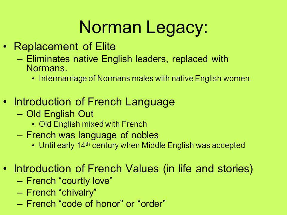 Norman Legacy: Replacement of Elite Introduction of French Language
