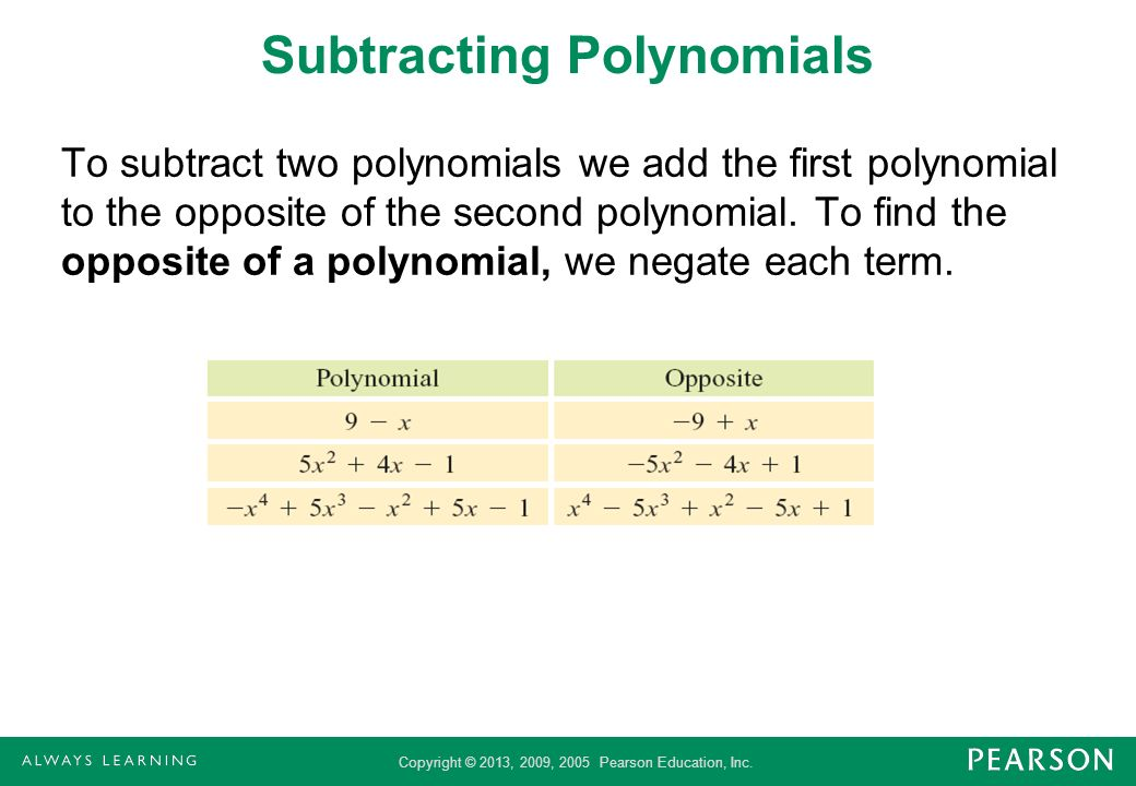 Subtracting Polynomials