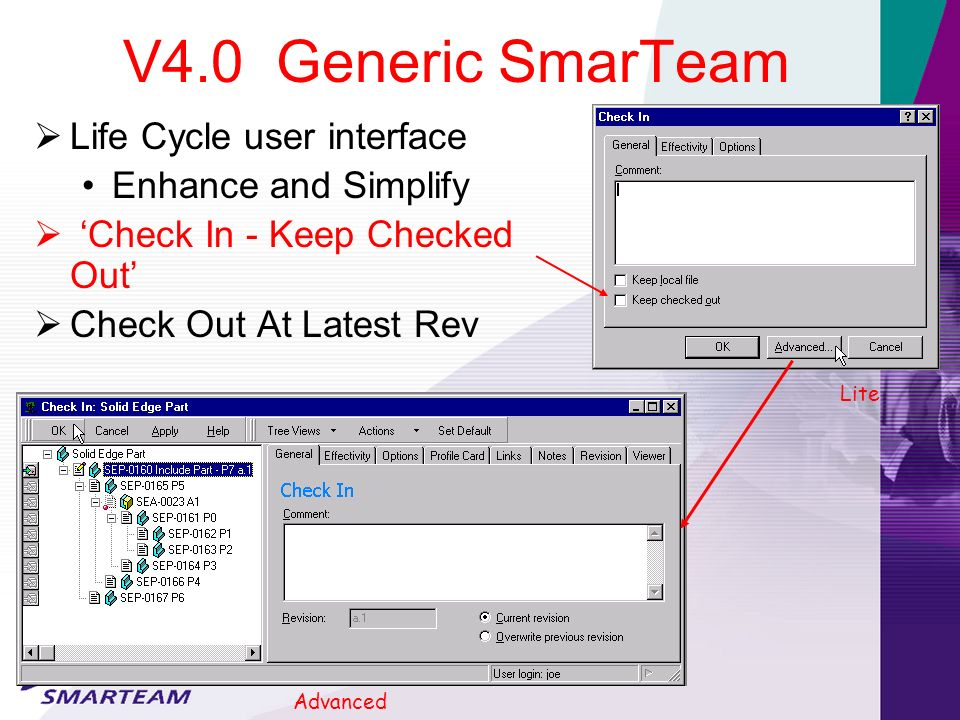 V4.0 Generic SmarTeam Life Cycle user interface Enhance and Simplify