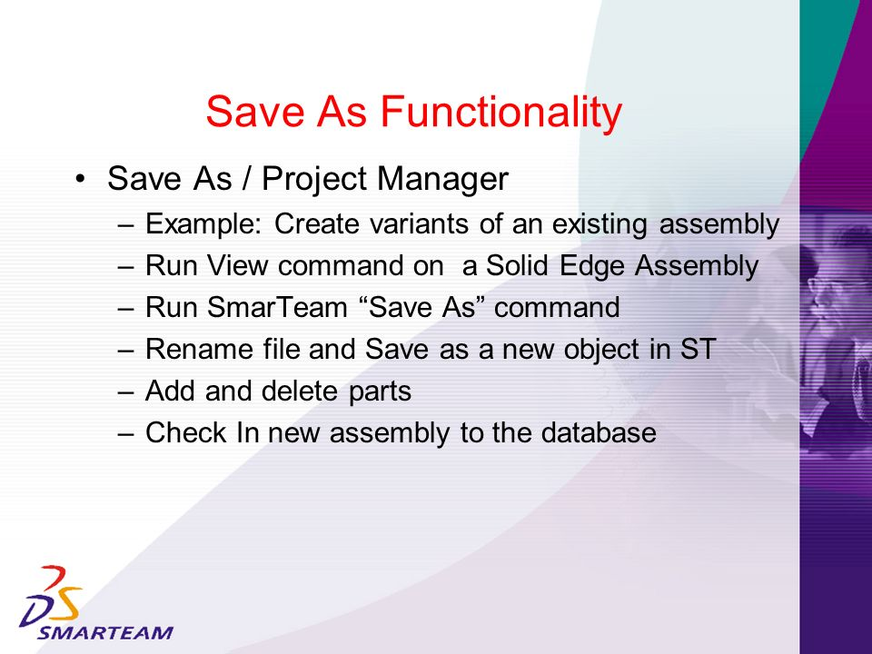 Save As Functionality Save As / Project Manager