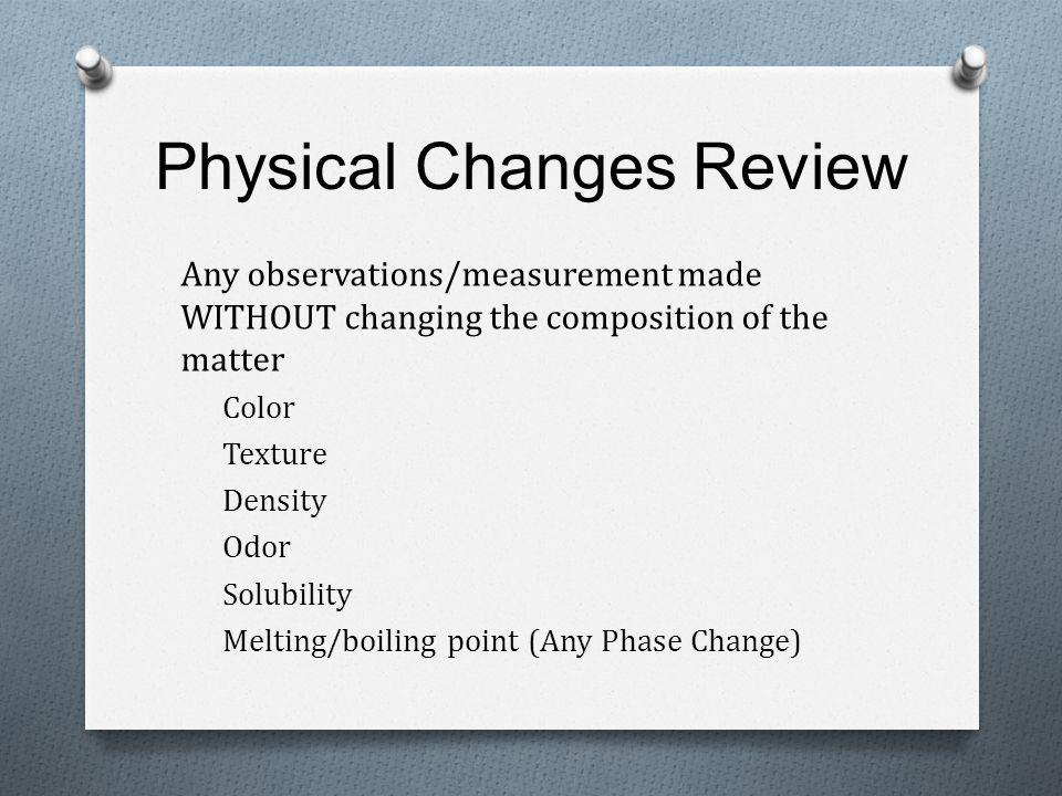 Physical Changes Review