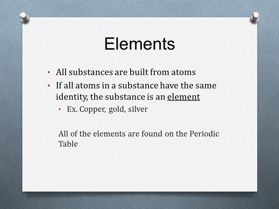 Elements All substances are built from atoms